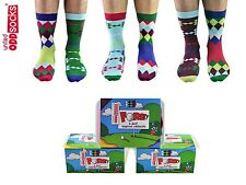 United Oddsocks Set Of 6 Fore Odd Socks Unisex 6 - 11 Golf Diamonds Argyle Gift