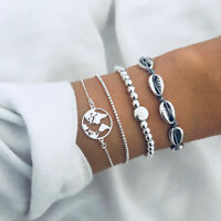 4Pcs/Set Bohemian Beach Shell World Map Charm Beads Bangle Chain Rope Bracelet