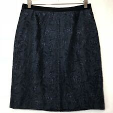 Jigsaw Womens Size 12 Pencil Skirt Navy Blue Jacquard Silk Blend