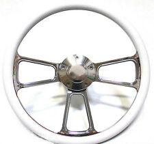 """SPECIAL BUY!! Chrome and White Vinyl 14"""" Steering Wheel -- Chevy, Ford, Dodge"""