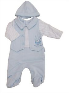 BNWT Tiny Premature Preemie Baby blue all in one romper suit & hat3-5 lb 5-8lb
