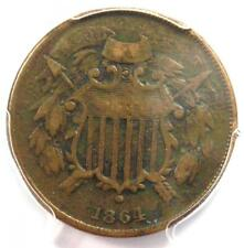 """1864 """"Small Motto"""" Two Cent Coin 2C - PCGS VF Details - Rare Small Variety!"""