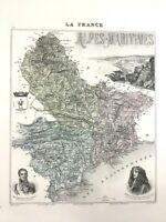 1893 Antik Map Of Alpes Maritimes Schön Frankreich French Regional Hand- Farbig