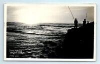 VTG Surf Fishing Oregon Coast B&W Real Photo Postcard Men Fishing Ocean 1954