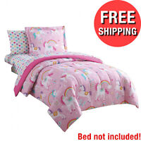 Full Twin Kids Bedding Set Sheets Girls Comforter Rainbow Unicorn 7 piece Pink