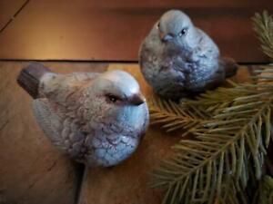 NWT Set 2 Chubby Blue Gray BIRD Polystone CHRISTMAS Figurine Decor