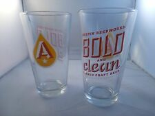 Austin Beer Works Beer Pint Glasses, Heavy, New Bold and Clean Brewery Craft TX