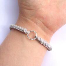 Cavo di cotone all'uncinetto, bracciale, argento sterling, unisex