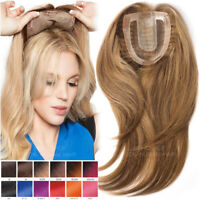Clip In 100% Remy Human Hair Women's Toupee Topper Extensions Silk Top Hairpiece