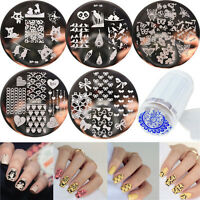 7pcs/set BORN PRETTY Nail Art Template Stamping Plates & Clear Stamper Kit DIY