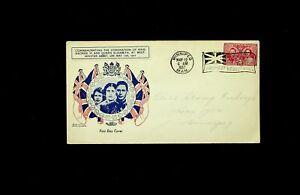 CANADA 1937 CORONATION OF KING GEORGE VI & QEII FDC W/ 3v & FLAG CACHET