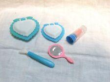 Vintage Lot 5 Pieces Plastic Dolly's Makeup 2 Heart Shape etc.