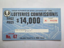 LOTTERIES COMMISSION SOUTH AUST c1967 50 c TICKET LOTTERY No 47 TICKET No 00100