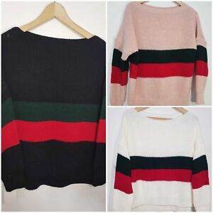 Womens Knitted Winter Boat Neck Jumper Ladies Sweater Top New UK Size 8-14