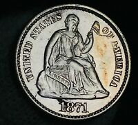 1871 Seated Liberty Half Dime 5C High Grade AU+ Details US Silver Coin CC2672