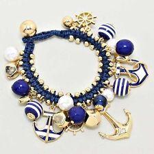 New Women Fashion Anchor Charm Ocean Pearl Bead Nautical Gold Navy Bracelet