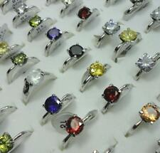 40pcs 100% Pure Zircon Silver Plated Rings Wholesale Jewelry Lots Free Shipping