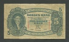 NORWAY - 5 kroner  1915  P7a  About Fine   World Paper Money