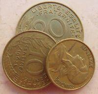 5 - 10 - 20 centesimi Repubblica Francese anni '60 - circolati - BELLI!- n. 1147