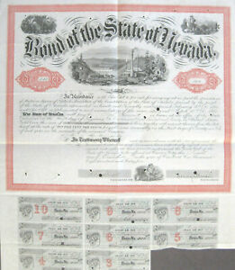 Nevada State $1000 Bond 1867 signed by Governor Blasdel
