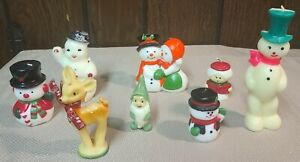 """Vintage Set of Eight Gurley Candles Including Green Dwarf and 7"""" Snowman"""
