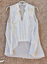 Robert Rodriguez Women's White Sleeveless Silk Chiffon Hi Lo Tunic Blouse Size 8