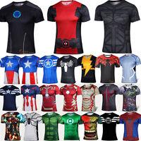 NOUVEAU Homme T-shirt manche courte super héros AVENGER compression sport