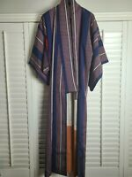 Vintage Kimono Traditonal Japanese Jacket Robe Geisha Blue Red Striped Lined