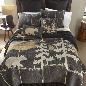 Donna Sharp Moonlit Bear Quilted Rustic Country Lodge ** TWIN** Quilt Set