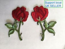 BARGAIN Pair of Red Roses Patches Iron / Sew On Embroidered Flower Patch Badge