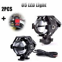 2x 125W U5 Motorcycle Cree LED Headlight Driving Fog Light Spot Lamps+ Switch HQ