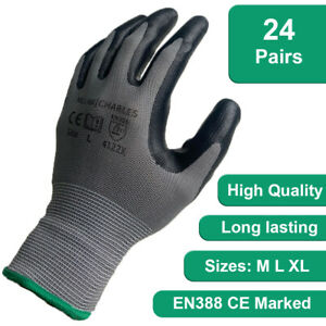 24 PAIRS NITRILE COATED WORK GLOVES BUILDERS GARDENING DIY CONSTRUCTION