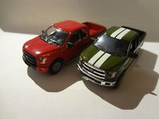 Greenlight 2015 Ford F-150 XLT Red & 2015 Ford F-150 Green - Loose New Mint 1:64