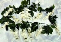 Ivory Cream Wisteria Garland Artificial Fake Silk Flowers Wedding Arch Backdrop