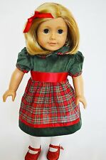 My Brittany's Christmas Dress for American Girl Dolls with Red Sparkle Shoes