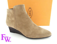 New Women's TOD'S Size 9 Beige Suede Gomma Wedge Ankle Boots Booties 39 1/2