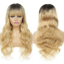 Blonde Ombre Human Hair Wigs with Bangs Virgin Indian Remy Full Machine Wigs T27