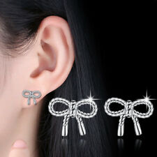Real 925 Sterling Silver Women Girl Twisted Rope Bow Earrings Stud  Jewellery
