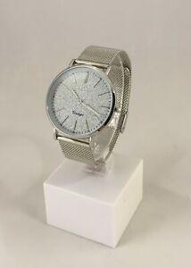 Oozoo Uhr Armbanduhr Designuhr silber / silver glitter Mesh ca. 40 mm C8199