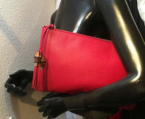 "Gucci Women's Bag DOLLAR CALF ROSSO Red Leather Zip Bamboo Tassel Clutch 14""- 8"""