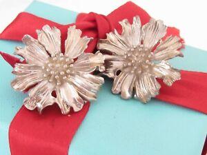 Tiffany & Co Silver Large Marigold Flower Clip On Earrings