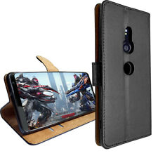 SDTEK Funda Flip Wallet Cuero para Sony Xperia XZ3 (Negro)
