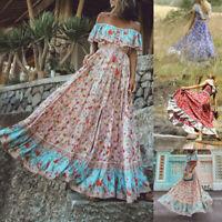 Women's Summer Bohemian Printed Waist V-Collar Chiffon Beach Long DressUS