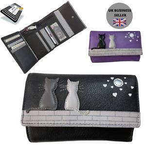 Midnight Black & Grey Cat RFID Trifold PURSE by Mala Leather 3535 35 midnight