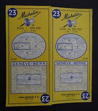 Carte MICHELIN old map n°23  SUISSE BERNE GENEVE 1963 Bibendum pneu tyre