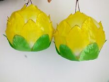 2 YELLOW L LOTUS FLOWER FABRIC PAPER LANTERN CHINESE WEDDING PARTY TEMPLE DECO