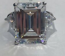 Sterling Silver 925 Large 15 Ct Emerald Cut Engagement Ring Size 5