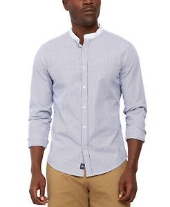 Dockers Regular Fit Performance Stretch Stripe Band Collar Shirt Small NWT