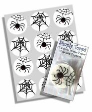 12 Halloween Spider Web Cupcake Decoration Edible Cake Toppers Cut 40mm Wafer