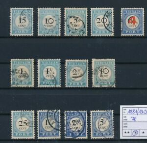 D194080(1) Netherlands 1881-1909 Postage Dues Nice selection of VFU Used stamps